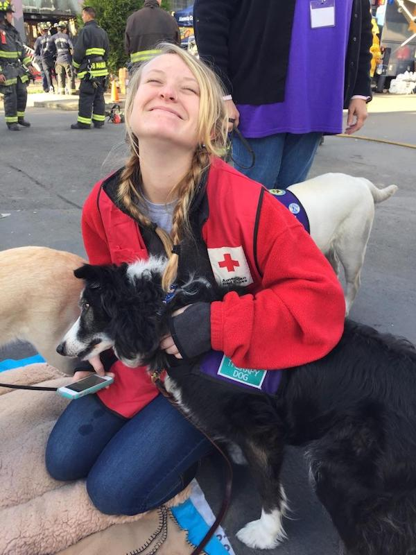 Sweep helps a Red Cross volunteer